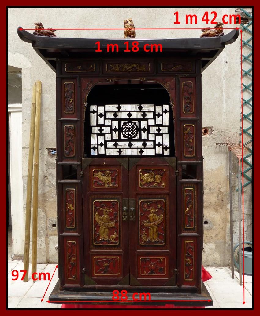 palanquin chinois chaise porteur chinoise bois sculpt dor chiens de fo ebay. Black Bedroom Furniture Sets. Home Design Ideas