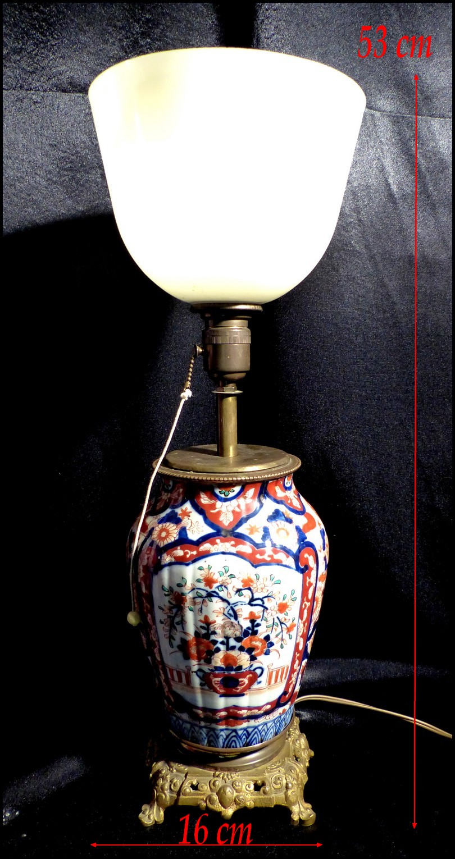 Lampe Napoléon III en Porcelaine de Chine XIXe Imari Bronze Doré et