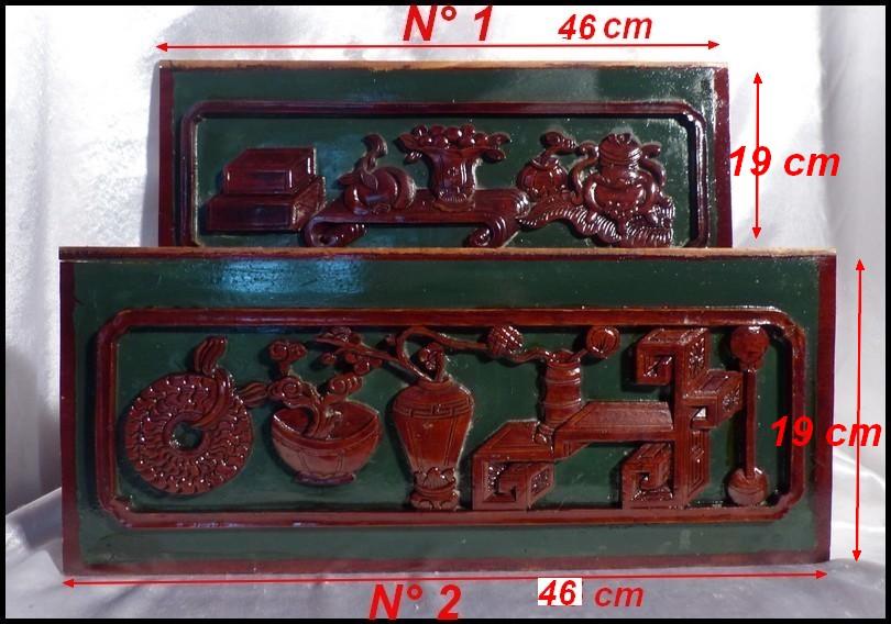 Sculptures chinoises 1860 dynastie qing bois laqu s - Couleur rouge sang de boeuf ...