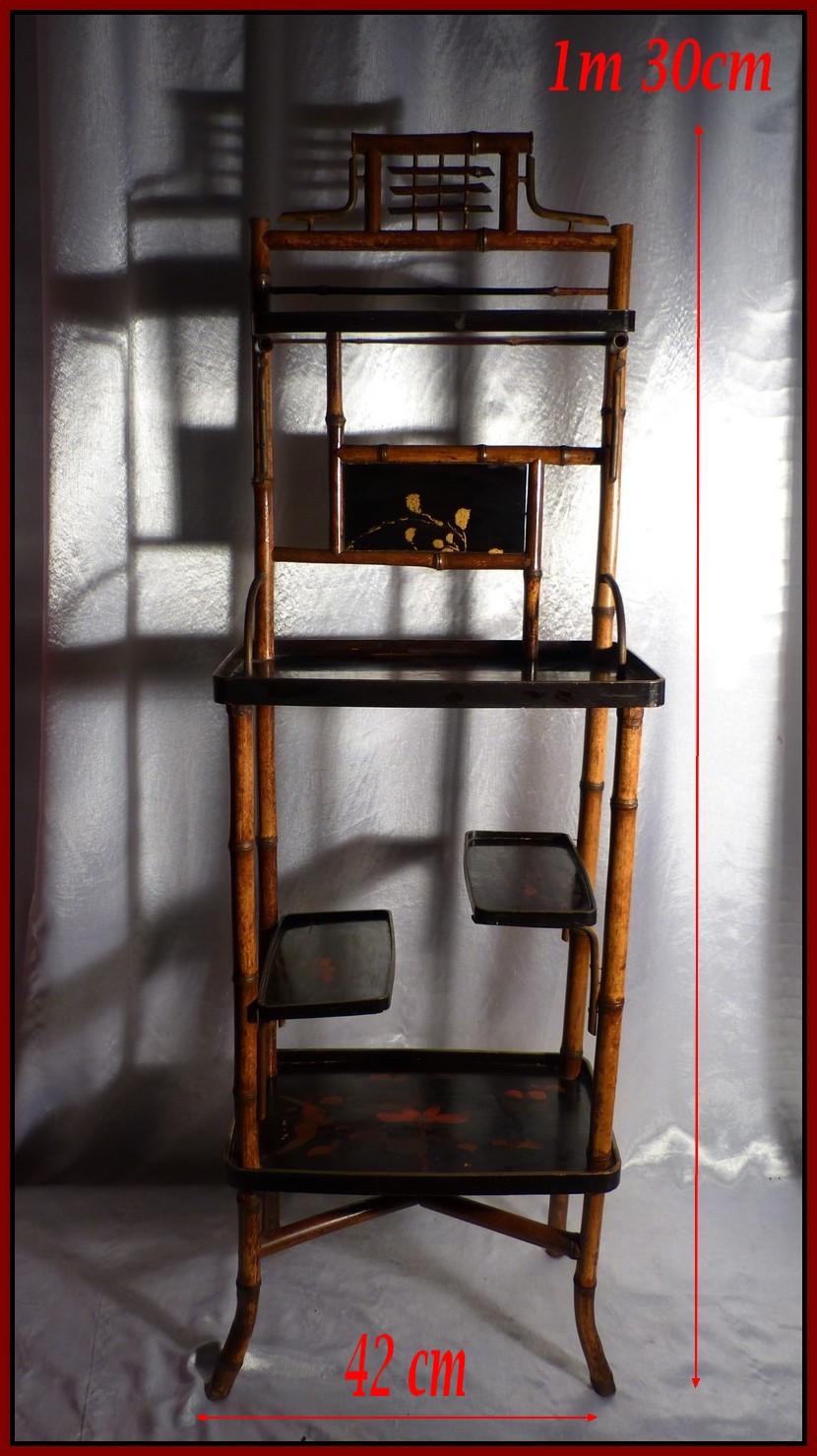 japon xixe meuble en bambou plateaux de laque rouge or laques du japon 19e ebay. Black Bedroom Furniture Sets. Home Design Ideas