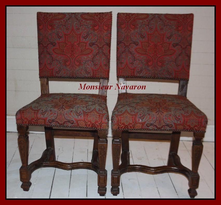 paire de chaises epoque louis xiv en bois sculpt recouvert de cachemire ancien ebay. Black Bedroom Furniture Sets. Home Design Ideas