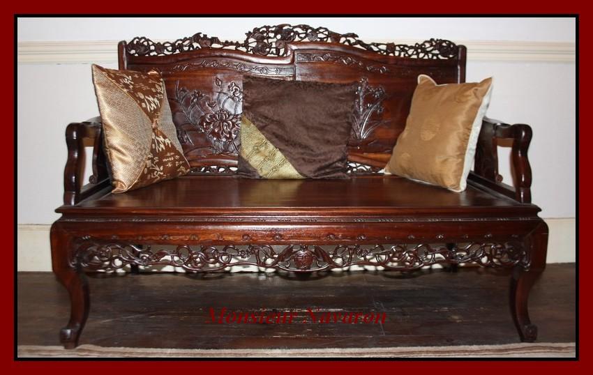 indochine xixe vietnam canap indochinois en acajou sculpt de lotus et animaux ebay. Black Bedroom Furniture Sets. Home Design Ideas