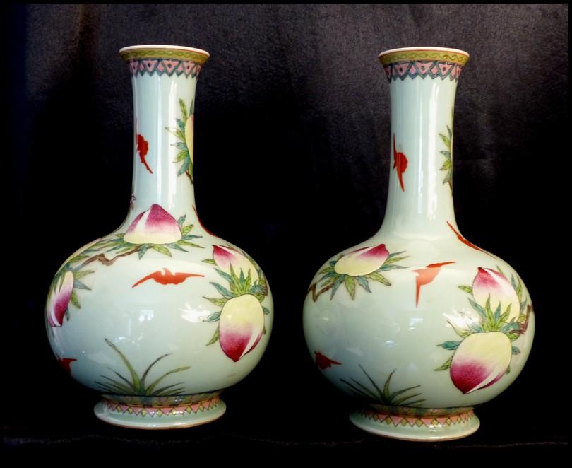 paire de vases en porcelaine de chine couleur c ladon p ches de long vit 34cm ebay. Black Bedroom Furniture Sets. Home Design Ideas