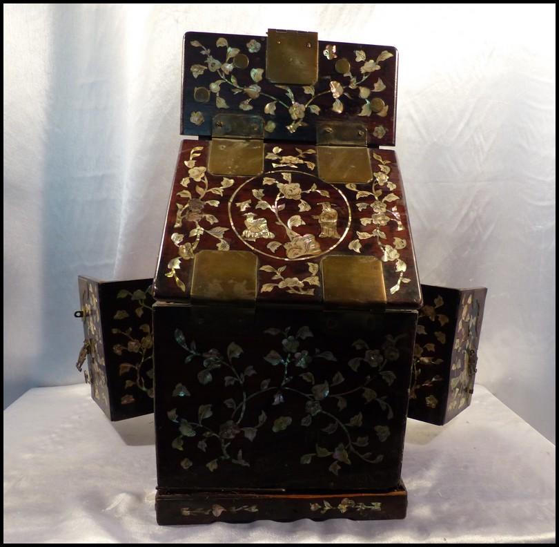 coffre bijoux chine ancienne xixe acajou nacre et miroir cabinet 5 tiroirs ebay. Black Bedroom Furniture Sets. Home Design Ideas