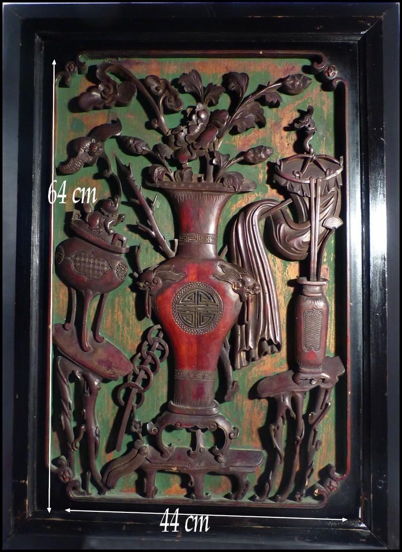 chine ancienne xixe panneau chinois sculpt vases chiens de foo chauve souris ebay. Black Bedroom Furniture Sets. Home Design Ideas