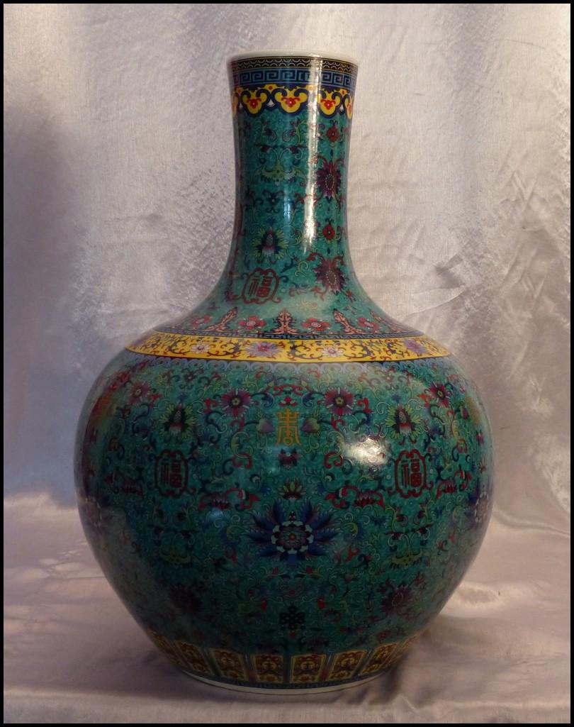 paire de vases porcelaines de chine fond turquoise. Black Bedroom Furniture Sets. Home Design Ideas